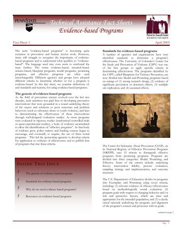 Technical Assistance Fact Sheets: Evidence-based Programs