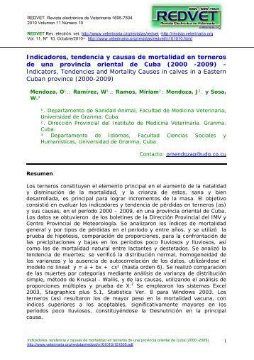 Indicadores, tendencia y causas de mortalidad en ... - Veterinaria.org