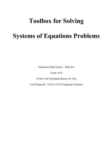 Toolbox for Solving Systems of Equations Problems (Grades 9-10)