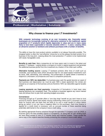 Why choose to finance your I.T Investments? - Cad2