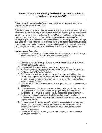 Instrucciones para el uso y cuidado de las computadoras portátiles ...
