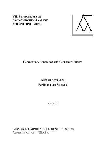 Competition, Coperation and Corporate Culture Michael ... - whu.edu