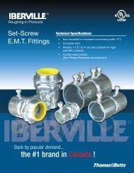 Iberville Set-Screw E.M.T. Fittings