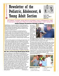 Newsletter of the Pediatric, Adolescent, & Young Adult Section