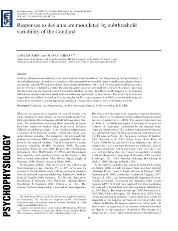 Responses to deviants are modulated by subthreshold variability of ...