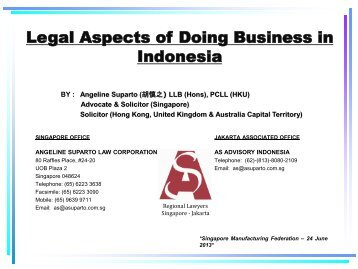 Legal Aspects of Doing Business in Indonesia - Singapore ...