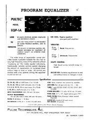 Pultec EQP-1A Manual