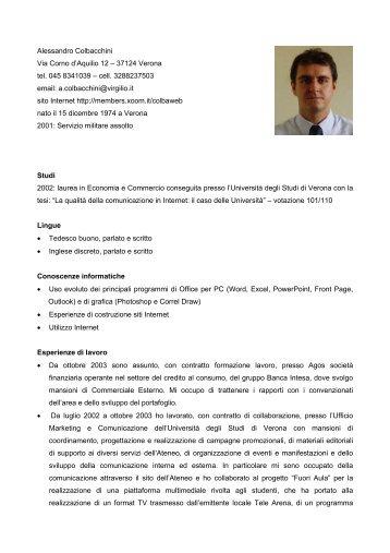 Alessandro Colbacchini Via Corno d'Aquilio 12 – 37124 ... - Virgilio