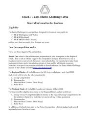 UKMT Team Maths Challenge 2012 General information for teachers