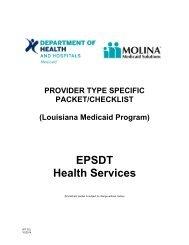 EPSDT Health Services - Louisiana Medicaid
