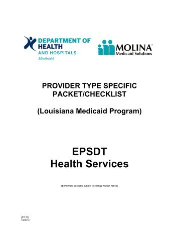 EPSDT Health Services - Louisiana Medicaid