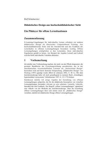 Didaktisches Design aus hochschuldidaktischer Sicht Ein ... - ZHW