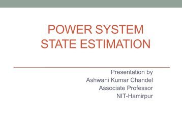 POWER SYSTEM STATE ESTIMATION - IIT Mandi