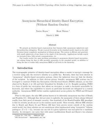Anonymous Hierarchical Identity-Based Encryption ... - Unisinos