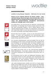 Presse • Prensa Stampa • Press wodtke living Design-Objekte ...