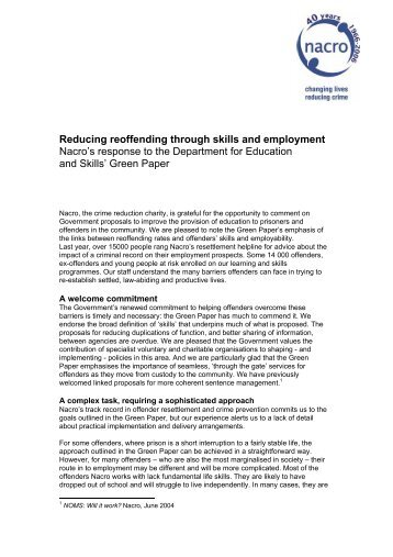 Reducing reoffending through skills and employment Nacro's ...