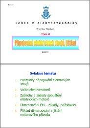 Připojování elektrických strojů, jištění (prezentace v PDF)