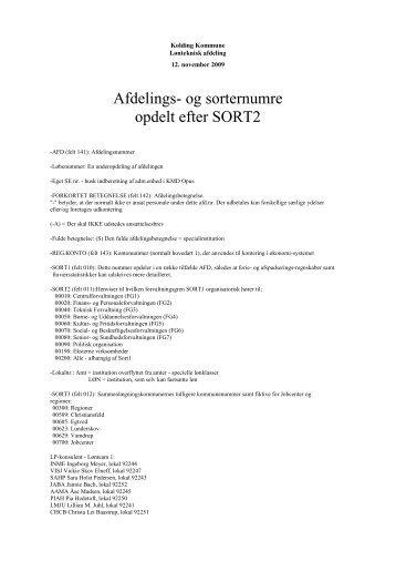 Afdelings- og sorternumre opdelt efter SORT2 - Kolding Kommune