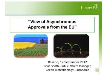 """View of Asynchronous Approvals from the EU"" - ArgenBio"
