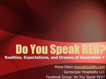 Do You Speak RED (Realities, Expectations and Dreams of ...