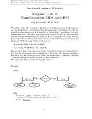 Aufgabenblatt 2: Transformation ERM nach RM - dbis
