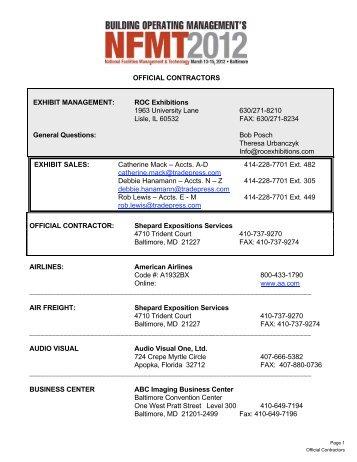 OFFICIAL CONTRACTORS EXHIBIT MANAGEMENT: ROC ... - NFMT