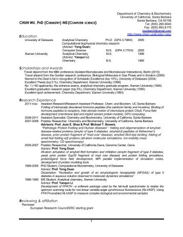 Here is my CV - Department of Chemistry and Biochemistry