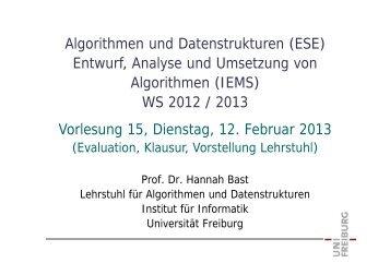 Algorithmen und Datenstrukturen ESE+IEMS, WS 1213, Vorlesung ...