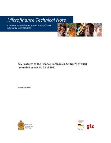 Microfinance Technical Note - Microfinance in Sri Lanka