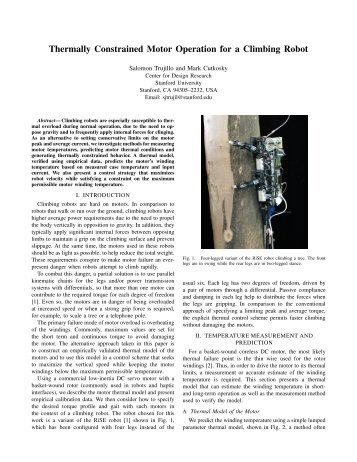 Thermally Constrained Motor Operation for a Climbing Robot
