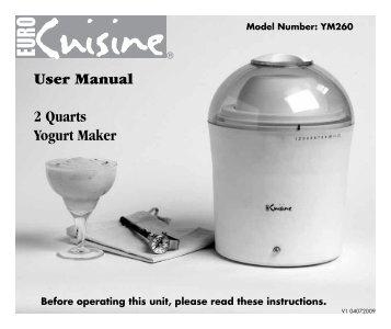 User Manual 2 Quarts Yogurt Maker