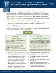 BP Criminal Plea Agreement Fact Sheet