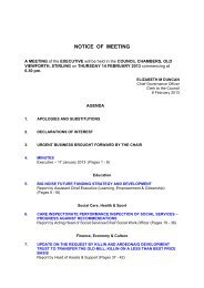 NOTICE OF MEETING - Stirling Council - Decisions On Line