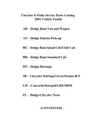Chrysler E-Fiche Service Parts Catalog 2001 Vehicle Family AB ...