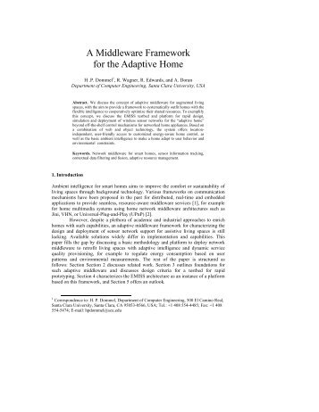 A Middleware Framework for the Adaptive Home - CiteSeerX