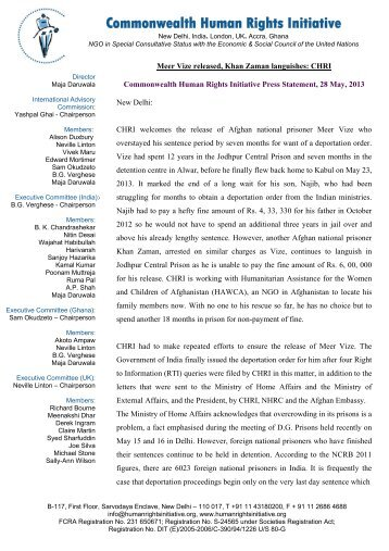 Meer Vize released, Khan Zaman languishes: CHRI Press Statement