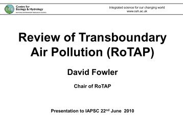 Review of Transboundary Air Pollution (RoTAP) - IAPSC