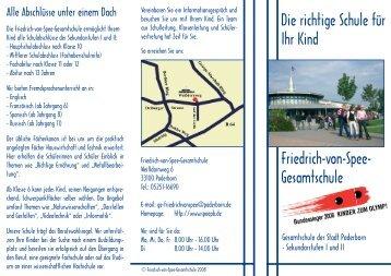 Die richtige Schule für Ihr Kind Friedrich-von-Spee- Gesamtschule