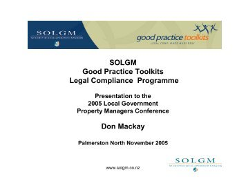 SOLGM Good Practice Toolkits Legal Compliance ... - LAPA