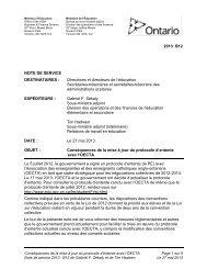 Conséquences de la mise à jour du protocole d'entente ... - Ontario.ca