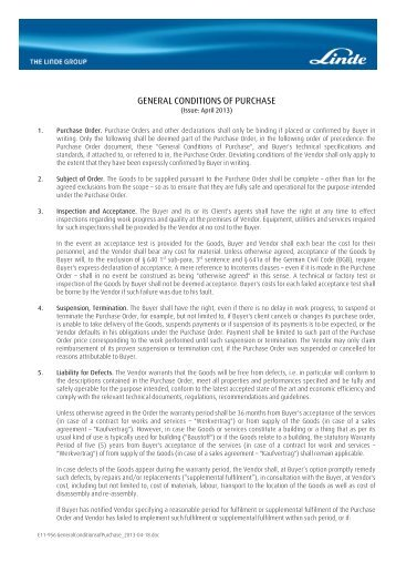 GENERAL CONDITIONS OF PURCHASE - Linde Engineering