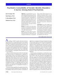 Psychiatric Comorbidity of Gender Identity Disorders - Trans Youth ...