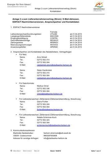E-Mail-Adressen, EDIFACT-Nachrichtenversionen, Ansp