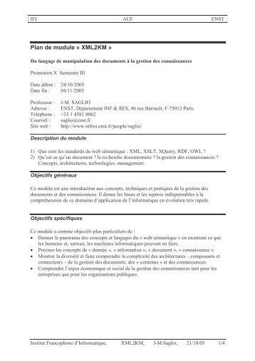 Plan de module « XML2KM » - Département Informatique et Réseaux