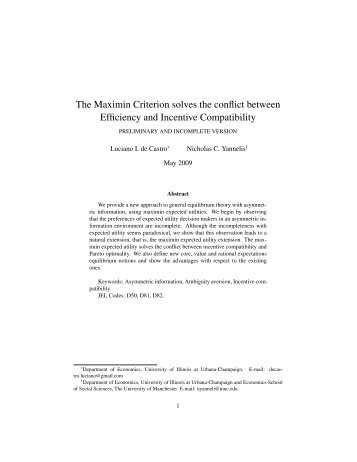 The Maximin Criterion solves the conflict between Efficiency and ...