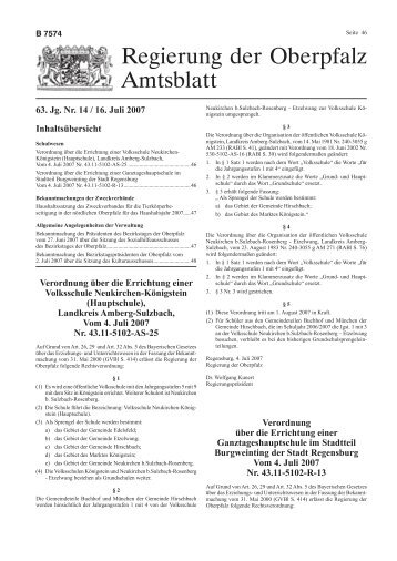 Amtsblatt der Regierung der Oberpfalz Nr. 14/16. Juli 2007