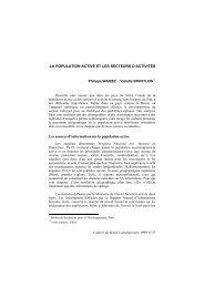 LA POPULATION ACTIVE ET LES SECTEURS D'ACTIVITÉS Les ...