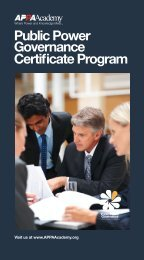 APPA Public Power Governance Certificate Program - American ...