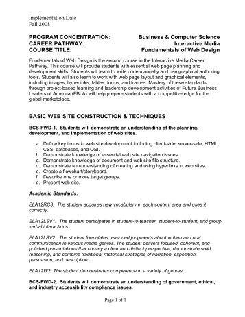 Fundamentals of Web Design - GeorgiaStandards.org