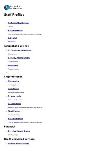 Staff Profiles - University of Worcester